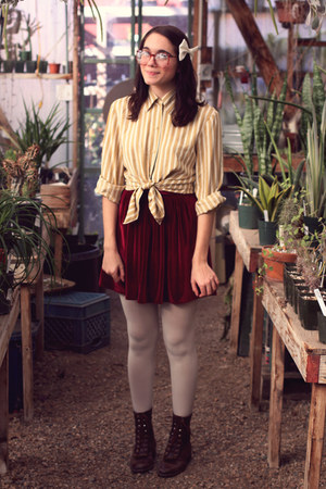 maroon velvet American Apparel skirt - dark brown vintage boots