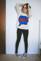 off white sweater - black high waisted BDG jeans - red Converse sneakers