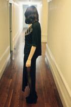 black slit thrifted vintage skirt - black heeled Bamboo boots