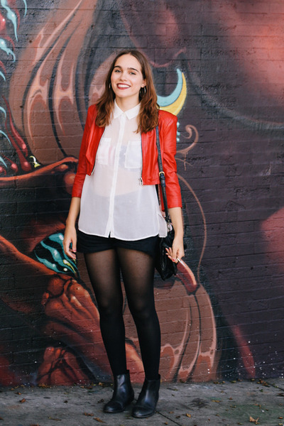 red leather Bebe jacket - black Urban Outfitters boots