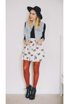 black fedora asos hat - ivory cat print Urban Outfitters dress