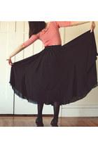 black long thrifted vintage skirt - black patent thrifted vintage shoes