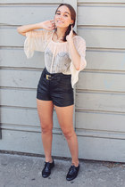 cream lace Forever 21 top - black patent shoes - black leather H&M shorts