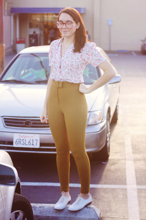 olive green riding American Apparel pants - white Urban Outfitters shoes