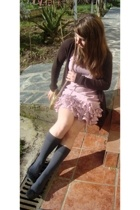 Zara blazer - dress - purse - Calcedonia socks - new look shoes