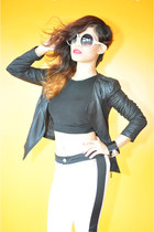 black faux leather jacket - black knitted Midriff top - white Skinny pants