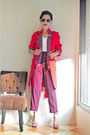 Red-frayed-hems-ing-coat-maroon-pants-white-stretch-zara-top