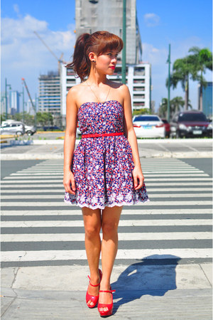 red red patent australian heels - navy floral print Forever 21 dress