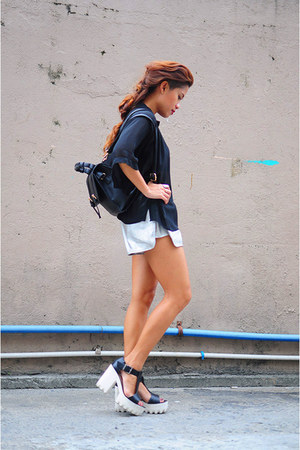 black Zalora bag - silver silver Erwin Lee Tan shorts