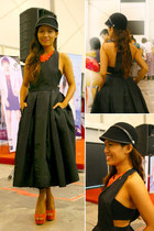 carrot orange neon damask necklace - black apron dress - black equistrienne hat