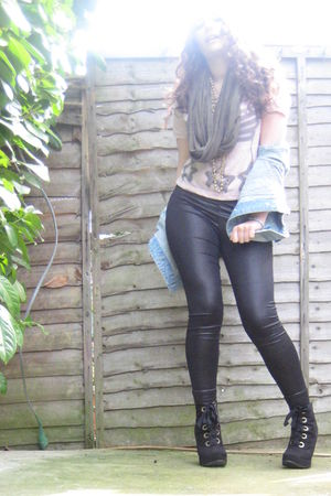 black random boutique boots - black Matalan leggings - blue Primark jacket - pin