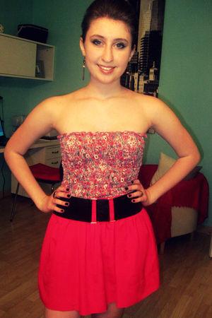 pink Forever 21 top - pink Forever 21 skirt - black Forever 21 belt