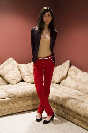 black H&M blazer - beige American Apparel top - red Club Monaco pants - black de