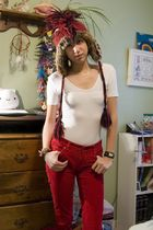 red American Eagle hat - white American Apparel top - white American Eagle bra -
