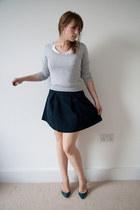 Topshop skirt - Zara jumper - abercrombie & fitch top - Christian Louboutin heel