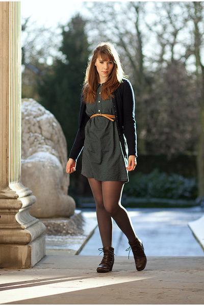 dark brown Fly London boots - navy Vain & Vapid dress - blue Topshop cardigan -