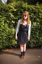 navy Aubin & Wills dress - black APC bag - navy COS socks - ivory Anthropologie
