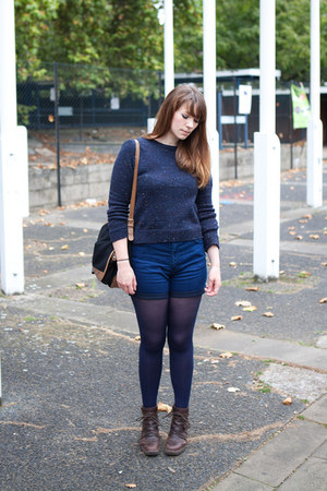 blue just female shorts - dark brown Fly London boots - navy Topshop jumper