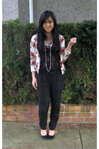 white Forever 21 cardigan - black wilfred top - black Club Monaco pants - black