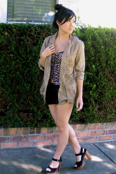beige Gap jacket - black pavonine shorts - black SilenceNoise top - black Jeffre
