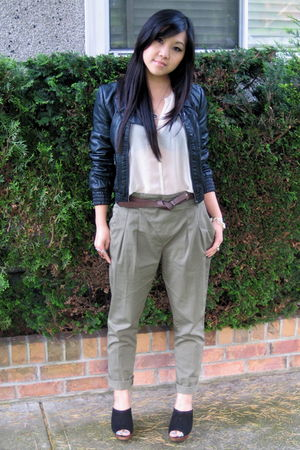 beige pins and needles blouse - green Zara pants - black Zara jacket - black Zar