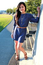 blue vintage dress - brown wilfred belt - brown Zara shoes