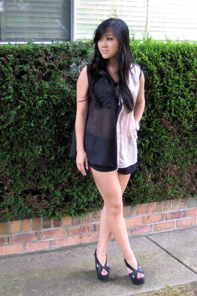 beige LUCYD ACYD blouse - black pavonine shorts - black Jeffrey Campbell shoes