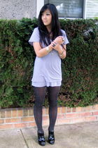 gray monrow t-shirt - black Urban Outfitters tights - black army and navy shoes