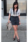 White-pins-and-needles-blouse-blue-forever-21-shorts-black-jeffrey-campbell-