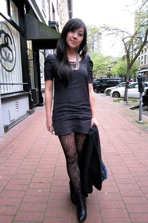 black Only dress - black Urban Outfitters tights - black Zara boots - black Club