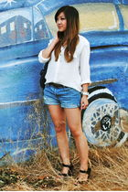 white Zara blouse - blue Levis shorts - black Jeffrey Campbell shoes - blue Marc
