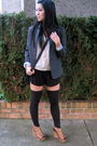 Beige-pins-and-needles-blouse-black-pavonine-shorts-gray-silencenoise-blazer