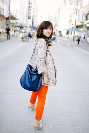 beige Zara jacket - carrot orange Zara pants