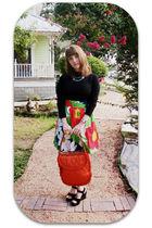 black Mossimo blouse - red Etsy skirt - black Clarks shoes - orange Vintage etsy