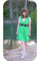 green handmade dress - beige Keds shoes