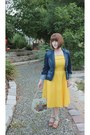 Yellow-vintage-dress-blue-denim-mossimo-jacket-tan-vintage-shoes-sandals