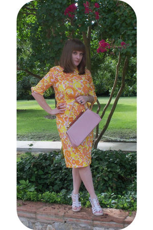 orange vintage from Ebay dress - white Ebay shoes
