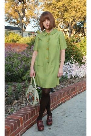 chartreuse thrifted vintage dress - crimson Missoni stockings