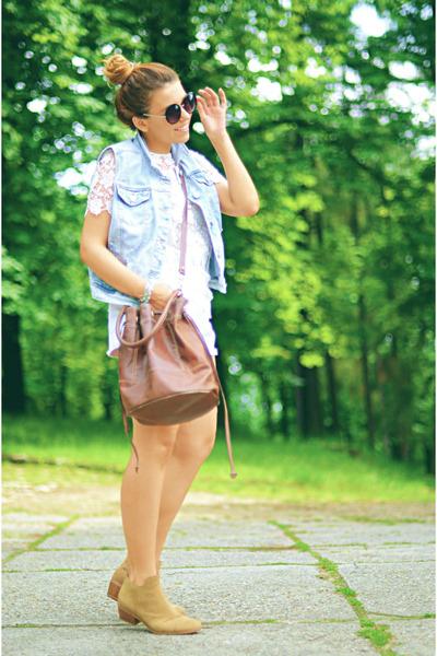 camel ankle boots vagabond boots - bronze H&M bag - white crochet Zara blouse