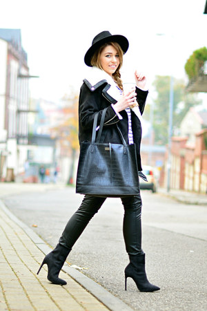 black suede Nelly boots - black Zara hat - black biker reserved jacket
