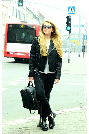 black cut out new look boots - black biker Mango jacket