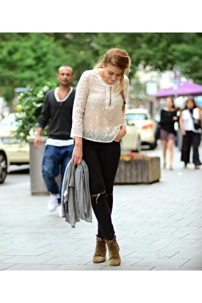 bronze ankle boots Isabel Marant boots - white lace Mango blouse