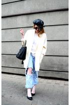 black second hand hat - off white oversize vintage coat - sky blue Levis jeans
