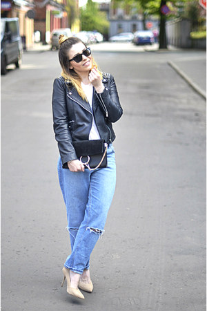 black biker Mango jacket - blue boyfriend asos jeans - black Chloe bag