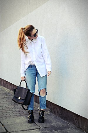 white second hand shirt - black cut out boots River Island boots