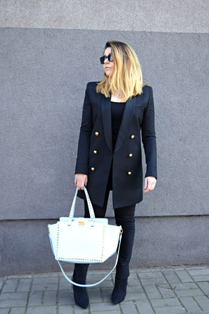 black H&M blazer - light blue studded bag BCBGeneration bag