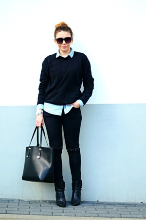 black ankle boots Mango boots - light blue denim shirt Pimkie shirt