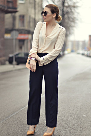 light pink Zara bag - cream Zara blouse - red Daniel Wellington watch