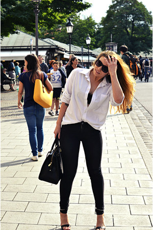 white second hand shirt - black Zara sandals