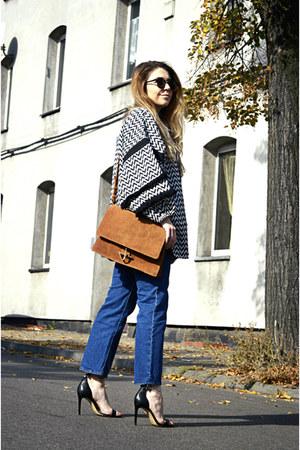 black H&M Trend jacket - blue H&M Trend jeans - bronze suede Mango bag